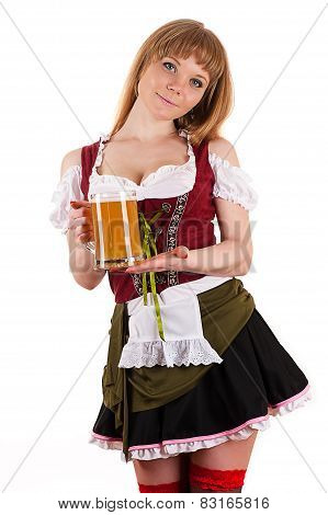 Oktoberfest beautiful girl with beer