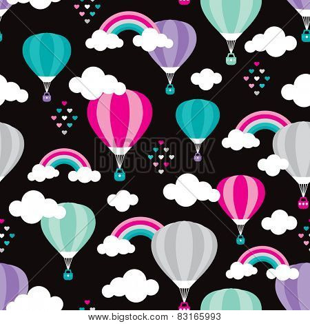 Seamless hot air balloon rainbow cloud hearts and sky illustration retro style background pattern in vector