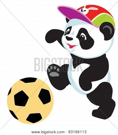 panda playing with ball