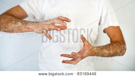 Close up Shot of Concept Human Hand with Water Splash Effect, Captured in Studio with Off White Background.