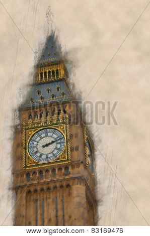 Artistic blurred,vintage paint effect view of Big Ben, London with the emphasis and clarity to the details of the dial and clock face of the clock tower, with copyspace