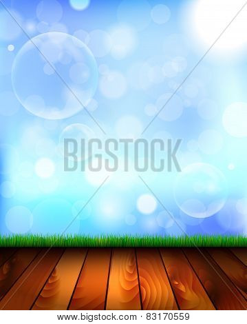 Natural Background With Wooden Floor, Grass And Sky