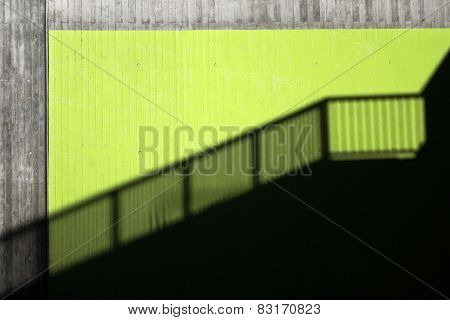 Shadow of a banister in a city