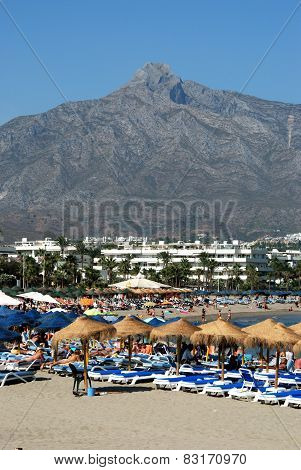 Busy beach, Marbella.