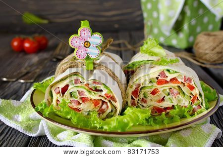 Rolls Of Bread With Vegetables, Cheese And Sausage