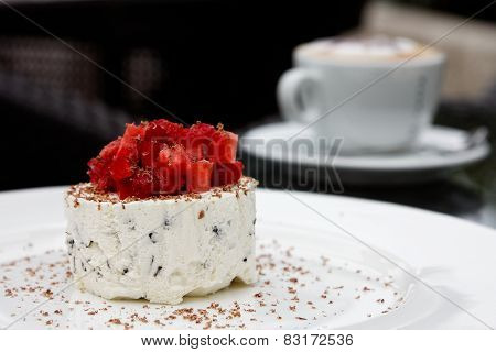 cream dessert with strawberry