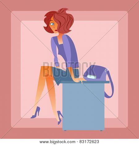 Lonely Woman Sitting On The Table