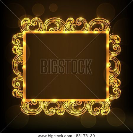 Beautiful floral design decorated golden frame in square shape on brown background.