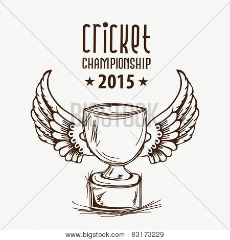 Black and white illustration of a winning trophy with wings for Cricket Championship 2015.