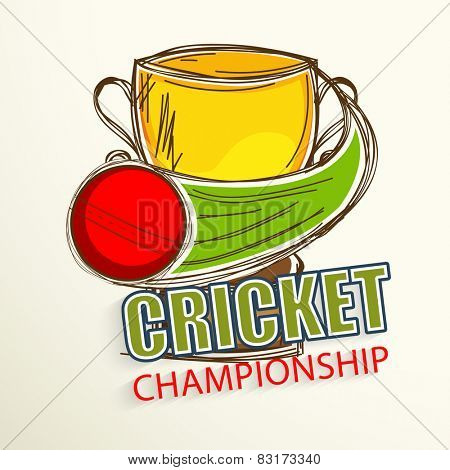 Cricket Championship concept with Golden Winning Cup and Cricket ball in motion.