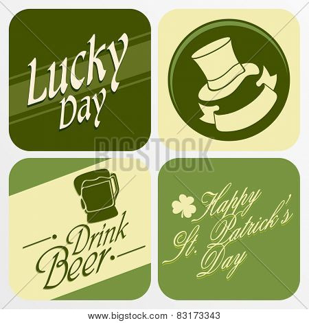 Creative sticker, tag or label design with St. Patrick's Day ornaments.