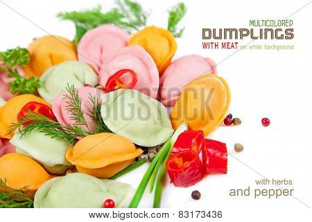 Multicolored dumplings with meat on a white background with herbs and pepper
