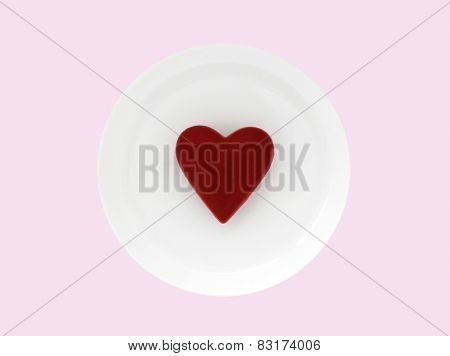 Red Valentine On Plate