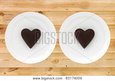 Two Chocolate Valentines On Plates