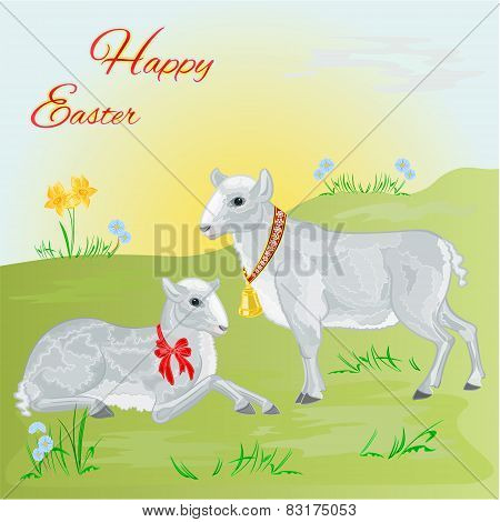 Lamb And Sheep Spring Background Vector