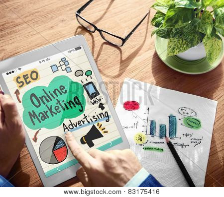 Digital Online Marketing Office Working Concept