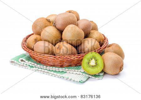 Kiwifruits In Wicker Plate