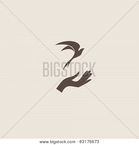 Bird with hand, freedom sign