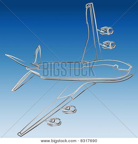 Silver 3D outline of jet illustration