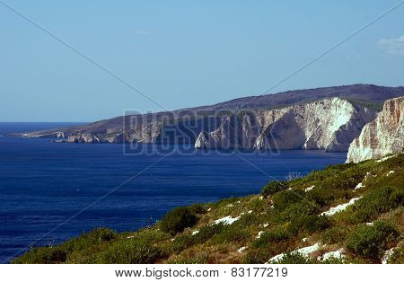 cliff on the coast of the Zakynthos island