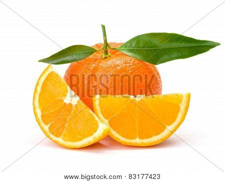 Orange Whit Slices And Leaves