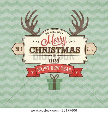 Vintage Merry Christmas Card.