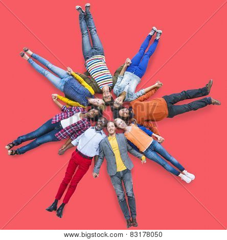People Lying Down Multiethnic Group Unity Friendship Concept
