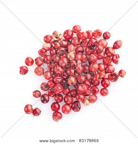 Pink Pepper Isolated On A White Background