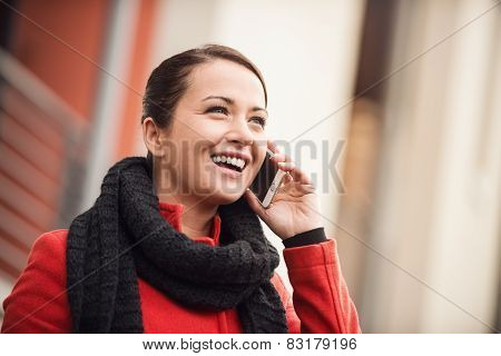 Smiling Woman In The Street