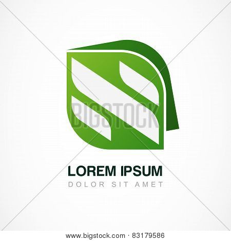 Vector Logo Design Template. Abstract Green Leaf With Letter N. Business Technology, Organic, Nature