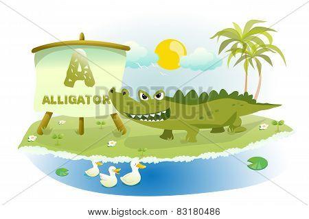 Funny Cartoon Alphabet A With Alligator