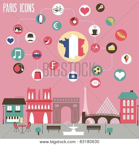 Paris Icons Set.