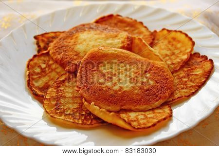 Small Pancakes On A White Plate. Wide Pancake Week