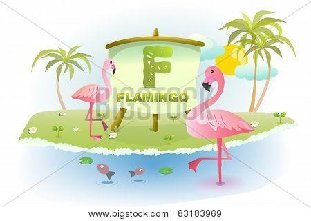 Funny Cartoon Alphabet F With Flamingo