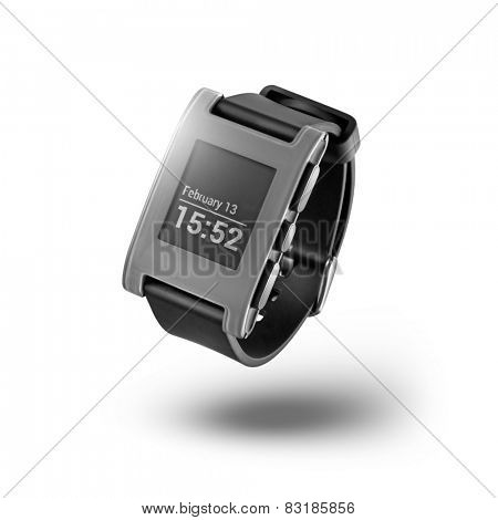 Kiev, Ukraine - February 13, 2015: Photo of Pebble smartwatch isolated on white. Product shot