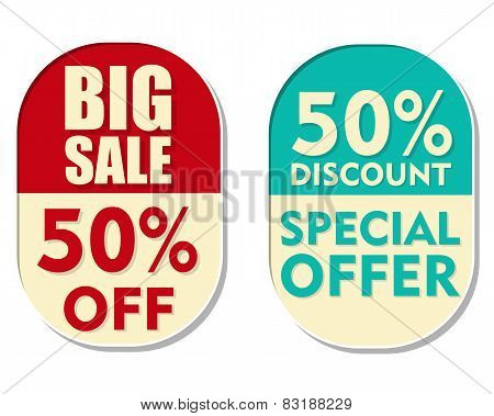 50 Percent Off Discount, Big Sale And Special Offer, Two Elliptical Labels
