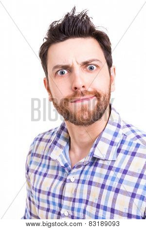 Man doing facial gesture on white background
