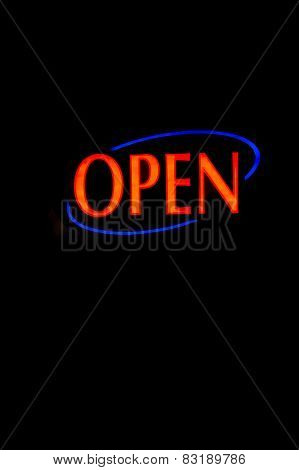 A brightly lt open neon signage