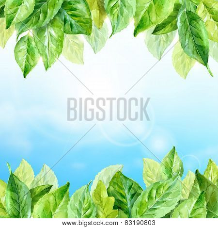 Vector Illustration Of Spring Leaves. Watercolor Sky Background