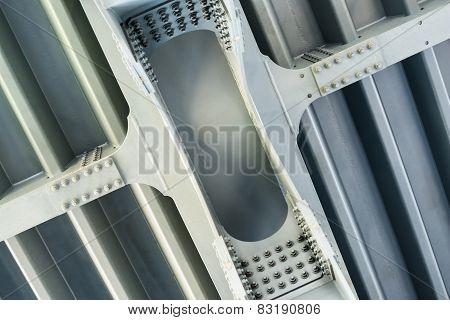 Gray Metal Framework. Close Up.