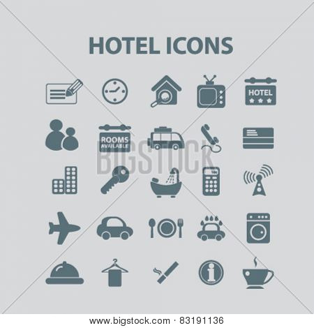 hotel, motel, room service, apartment isolated flat icons, signs, symbols illustrations, images, silhouettes on background, vector