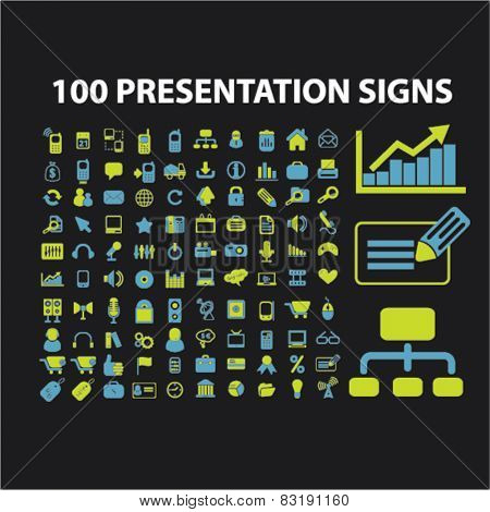 100 presentation, marketing, chart, infographics isolated flat icons, signs, symbols illustrations, images, silhouettes on background, vector