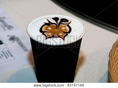 Glass Of Coffee Of A Cappuccino With The Drawing Executed On A Surface