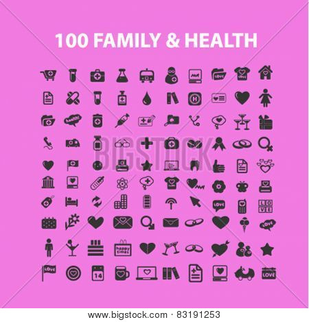 100 family, health, holidays, medicine, celebration isolated flat icons, signs, symbols illustrations, images, silhouettes on background, vector