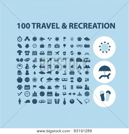 100 travel, recreation, tourism isolated flat icons, signs, symbols illustrations, images, silhouettes on background, vector