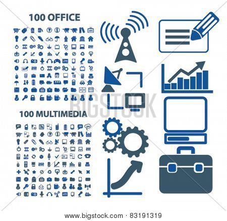 200 office, multimedia, computer, technology, communication isolated flat icons, signs, symbols illustrations, images, silhouettes on background, vector