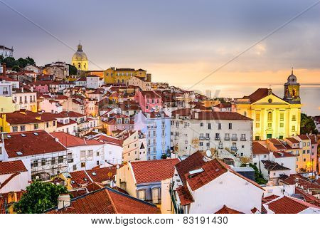 Lisbon, Portugal cityscape  at the Alfama district at dawn.