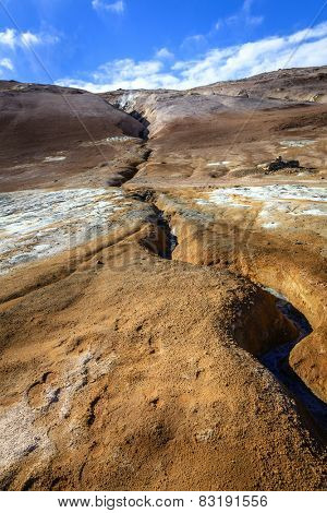 Fissure in the ground in Hverir - geothermal field in Northern Iceland