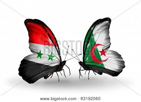 Two Butterflies With Flags On Wings As Symbol Of Relations Syria And Algeria