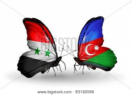 Two Butterflies With Flags On Wings As Symbol Of Relations Syria And Azerbaijan